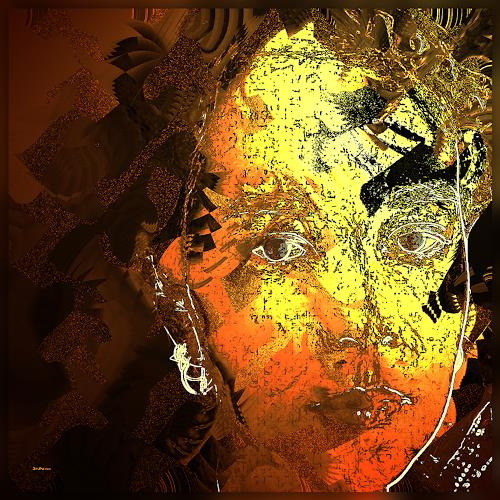 Dieter Bruhns, Autumn Face, Fantasy, Abstract Art