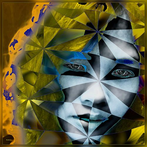 Dieter Bruhns, Female Portrait, People: Portraits, Abstract Art