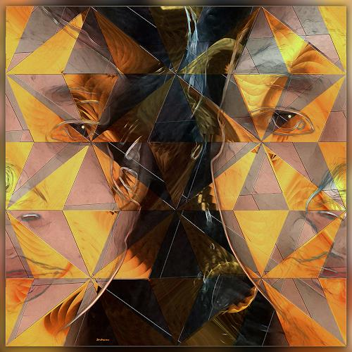 Dieter Bruhns, Golden Shards, People: Portraits, Abstract Art