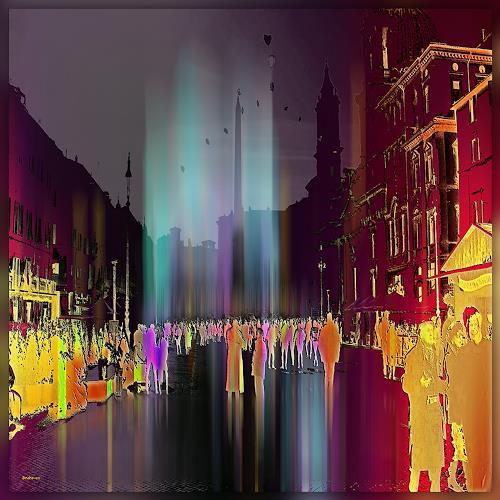 Dieter Bruhns, Streetlife, People: Group, Abstract Art