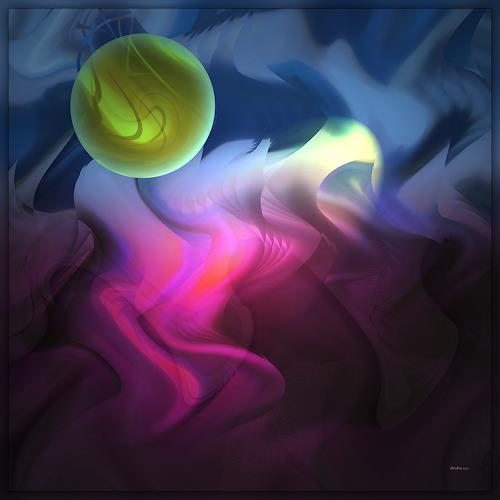 Dieter Bruhns, The Moon, Sun,Sky and the Sea, Abstract art, Abstract Art, Abstract Expressionism