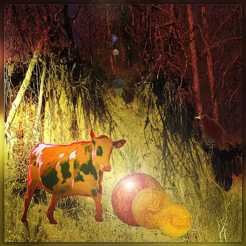Dieter Bruhns, Sporting Cow, Fantasy, Abstract Art