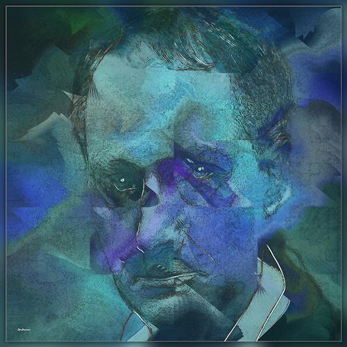 Dieter Bruhns, Thinking Blue, People: Portraits, Abstract Art