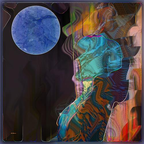 Dieter Bruhns, Blue Moon, Fantasy, Abstract Art