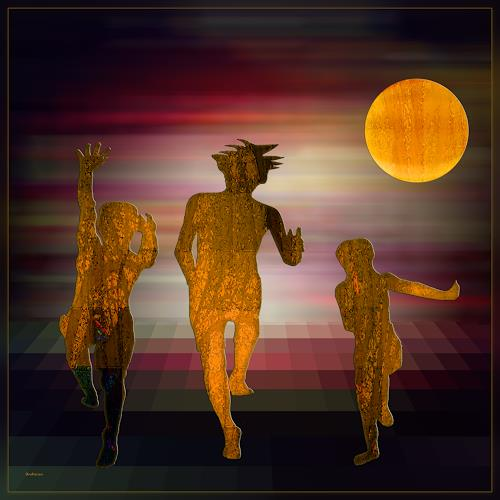 Dieter Bruhns, Dancing in the Moonlight, Fantasy, Abstract Art