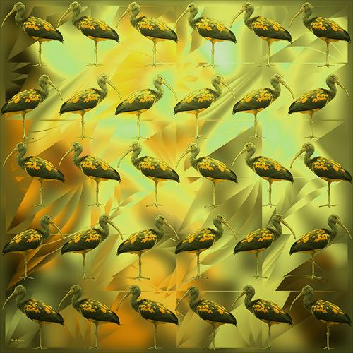 Dieter Bruhns, Big Birds Assembly, Fantasy, Abstract Art