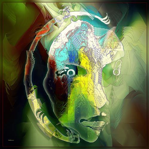 Dieter Bruhns, Mask B, People: Portraits, Abstract Art