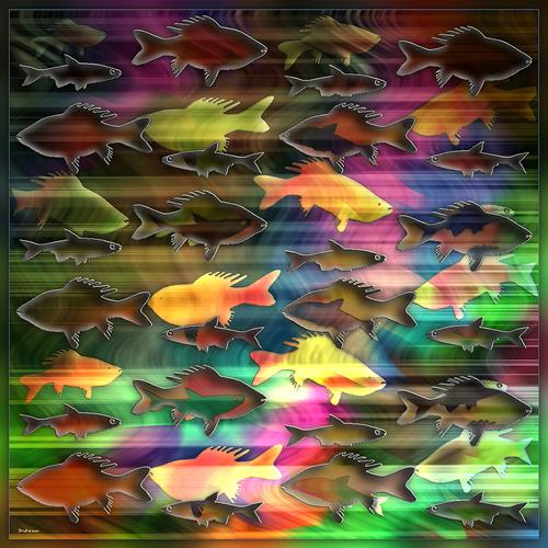 Dieter Bruhns, .Fishes, Animals, Abstract Art