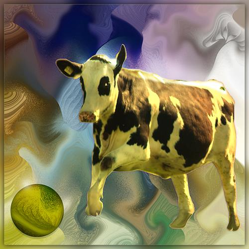 Dieter Bruhns, Cow, Animals, Abstract Art