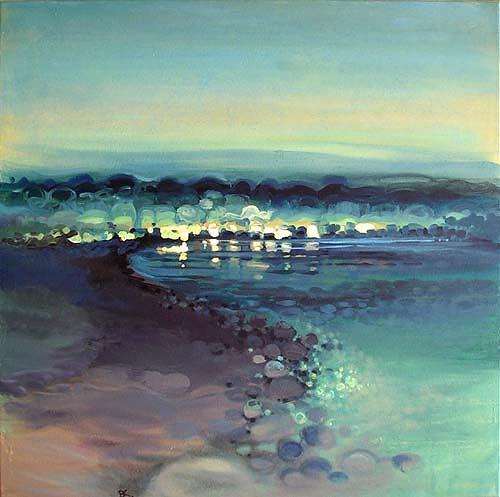 Diana Krasselt, Sommerabend III, Landscapes: Summer, Landscapes: Sea/Ocean, Modern Age, Expressionism