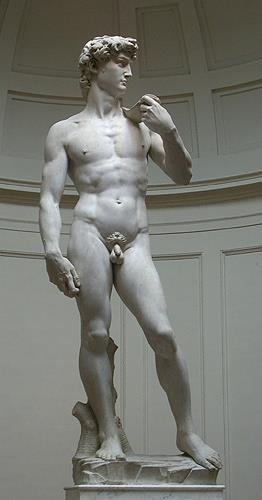 Michelangelo, David von Michelangelo, Erotic motifs: Male nudes, Mannerism