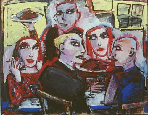 Jeanette Geissler, München Restaurant, People: Group, Parties/Celebrations, Contemporary Art, Expressionism