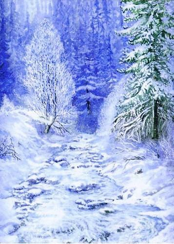 Josef Ditsch, Winter am Bach, Landscapes: Winter, Landscapes: Mountains, Naturalism, Expressionism