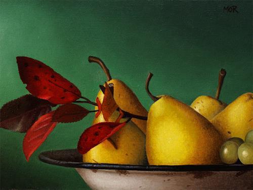 Dietrich Moravec, Schüssel mit Birnen, Harvest, Still life, Realism, Expressionism