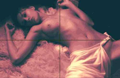 Dietrich Moravec, Akt auf Fell, Erotic motifs: Female nudes, People: Women, Pop-Art, Abstract Expressionism