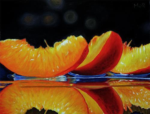 Dietrich Moravec, Nektarinenspalten / Nectarine Slices, Plants: Fruits, Still life, Photo-Realism, Expressionism