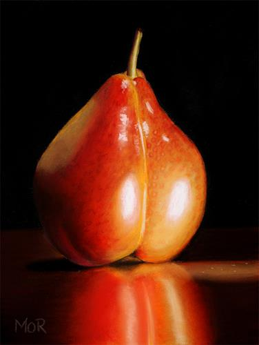 Dietrich Moravec, Red Pear, Plants: Fruits, Still life, Realism