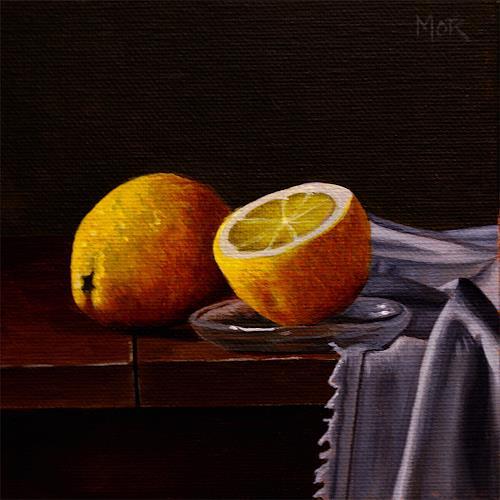 Dietrich Moravec, Zitronen und Tuch, Plants: Fruits, Still life, Realism