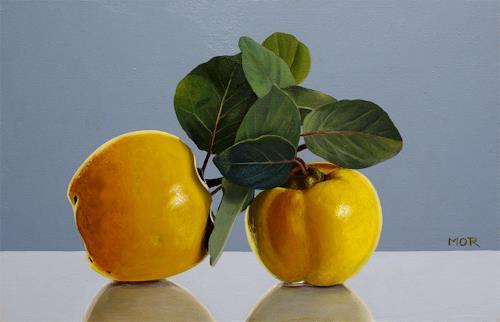Dietrich Moravec, Quittenzwillinge, Still life, Plants: Fruits, Realism, Expressionism