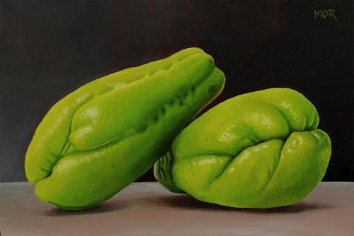 Dietrich Moravec, Stachelgurken (Chayotes), Plants: Fruits, Still life, Photo-Realism, Expressionism
