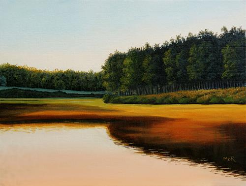 Dietrich Moravec, Glowing River, Landscapes: Plains, Landscapes: Summer, Photo-Realism, Expressionism