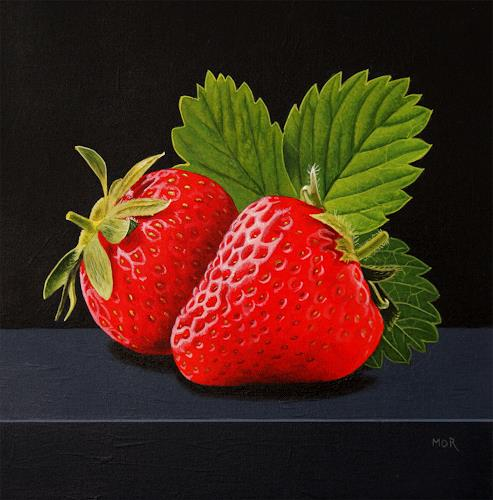 Dietrich Moravec, Erdbeerduo, Plants: Fruits, Still life, Hyperrealism, Expressionism