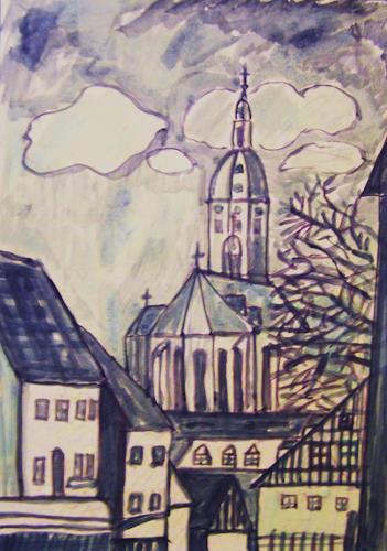 Michael Thomas Sachs, Blick zur Annenkirche, Architecture, Fantasy, Realism
