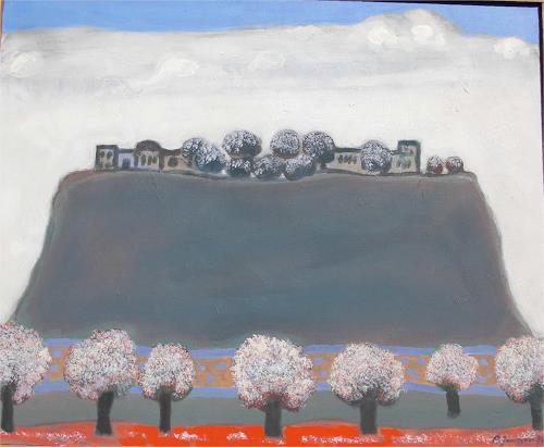 Peter Janssen, Das Dorf, Landscapes: Hills, Realism, Expressionism
