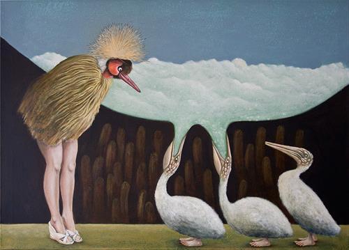 Hinrich van Hülsen, Führung durch die Vogelwelt, Fantasy, Animals: Air, Abstract Expressionism
