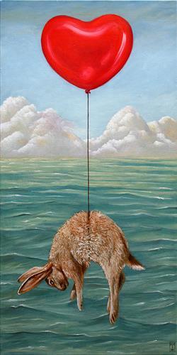 Hinrich van Hülsen, Ein plötzlicher Einfall, Fantasy, Landscapes: Sea/Ocean, Realism, Abstract Expressionism