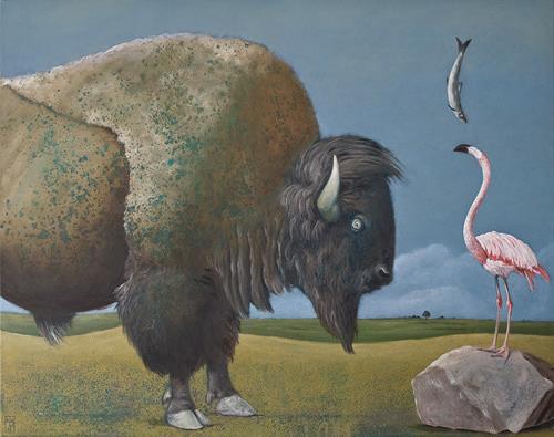 Hinrich van Hülsen, Wieviel Ruhe brauchen Fische?, Miscellaneous Animals, Fantasy, Post-Surrealism, Abstract Expressionism