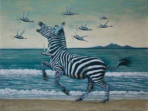 Hinrich van Hülsen, Der Weg zum P, Animals: Land, Landscapes: Sea/Ocean, Post-Surrealism, Abstract Expressionism