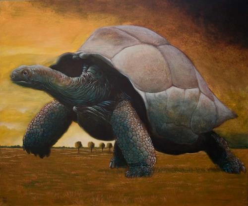 Hinrich van Hülsen, Es ist gestern Nacht passiert, Animals: Land, Landscapes: Plains, Post-Surrealism, Expressionism