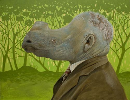 Hinrich van Hülsen, Scratch my neck, People: Men, Animals: Land, Post-Surrealism, Abstract Expressionism