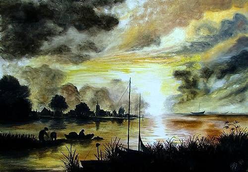 Josef Balek, Aert van der Neer, Landscapes: Sea/Ocean, Landscapes: Sea/Ocean, Realism, Expressionism