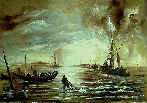 Josef Balek, fischer, Landscapes: Sea/Ocean, Landscapes: Sea/Ocean, Realism, Expressionism