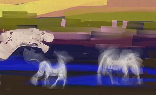 Reiner Poser, Tanz der Pferde vor Sonnenuntergang, Animals: Land, Art Déco