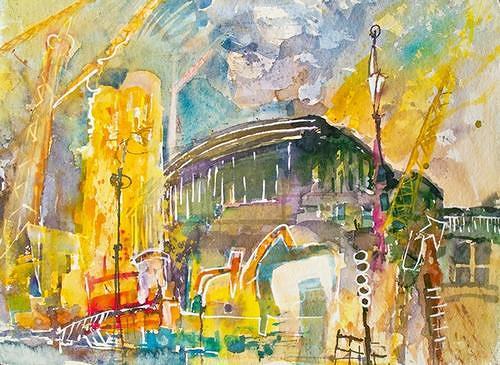 Reiner Poser, Baustelle Friedrichstrasse, Architecture, Traffic: Railway, Neo-Expressionism, Expressionism