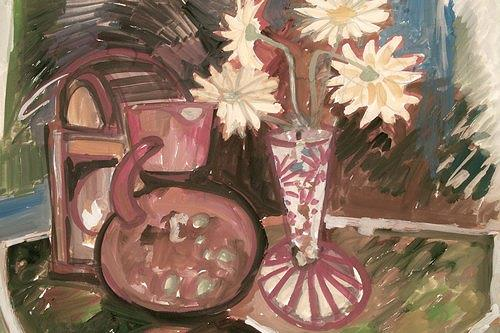 Reiner Poser, Flowers and accessory, Still life, Expressive Realism