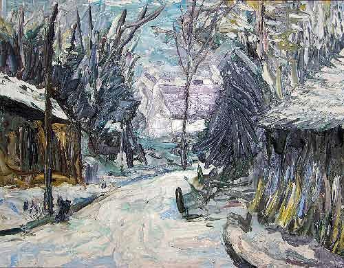 Reiner Poser, Winter im Spreewald, Landscapes: Winter, Neo-Expressionism, Expressionism