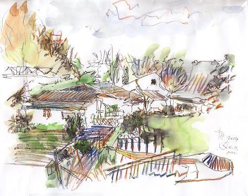 Reiner Poser, Die Laubenpieper erwachen, Landscapes: Plains, Neo-Expressionism