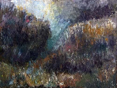 Reiner Poser, Dunkle Landschaft, Landscapes: Plains, Neo-Expressionism