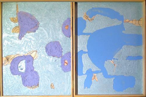 Reiner Poser, Doppelkomposition in Blau, Abstract art, Fantasy, Minimal Art