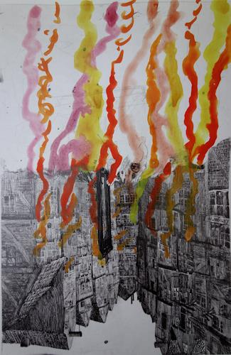 Reiner Poser, Houses on fire, Architecture, Modern Age