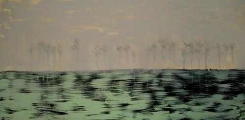 Reiner Poser, Forest in twilight, Landscapes, Expressionism