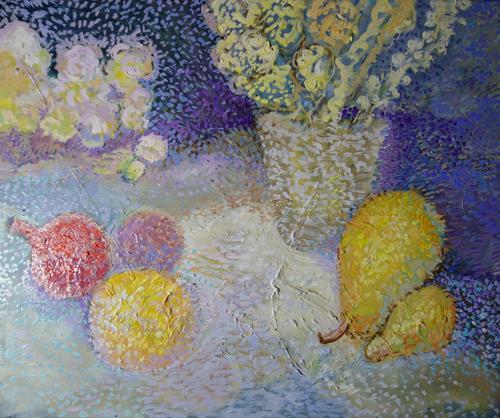 Reiner Poser, Granatäpfel und Birnen, Still life, Neo-Expressionism, Expressionism