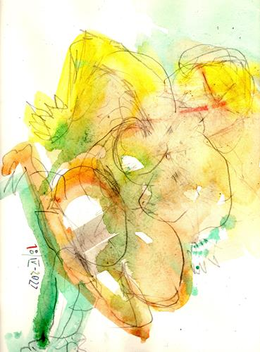 Reiner Poser, Nude in yellow and green, People: Women, Abstract Art, Abstract Expressionism