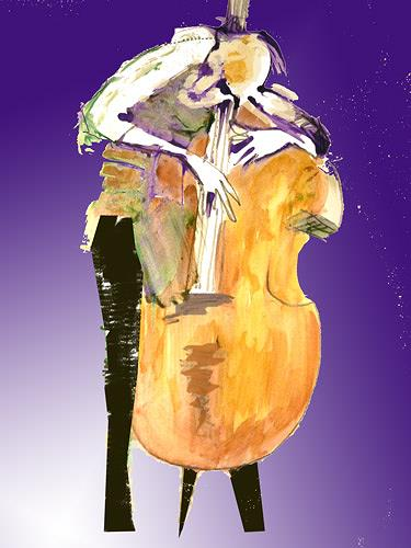 Reiner Poser, When my bass gently weeps..., Music: Musicians, Neo-Expressionism, Expressionism