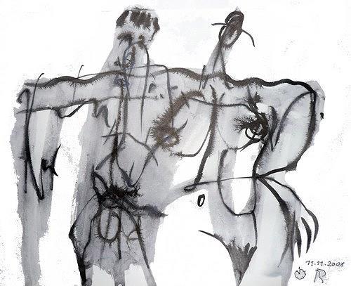 Reiner Poser, Trunkenbold wird nach Hause geführt, Abstract art