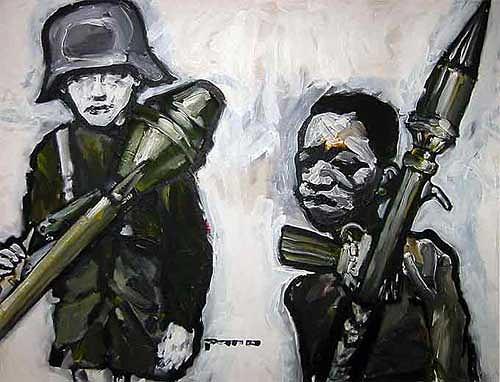 Nikolaus Pessler, Fehlersuchbild ... Links Deutschland 1945 Rechts Kongo 2010, Miscellaneous, Contemporary Art, Abstract Expressionism